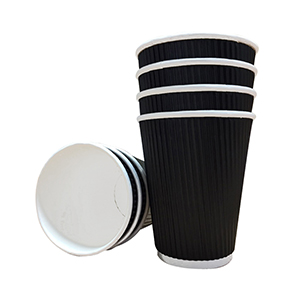 12oz Triple Walled Black Ripple Paper Cups x 500 (90mm rim)